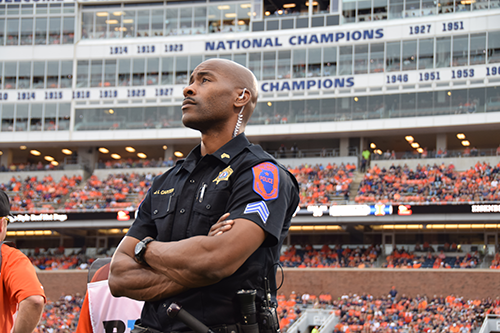 Officer at football game